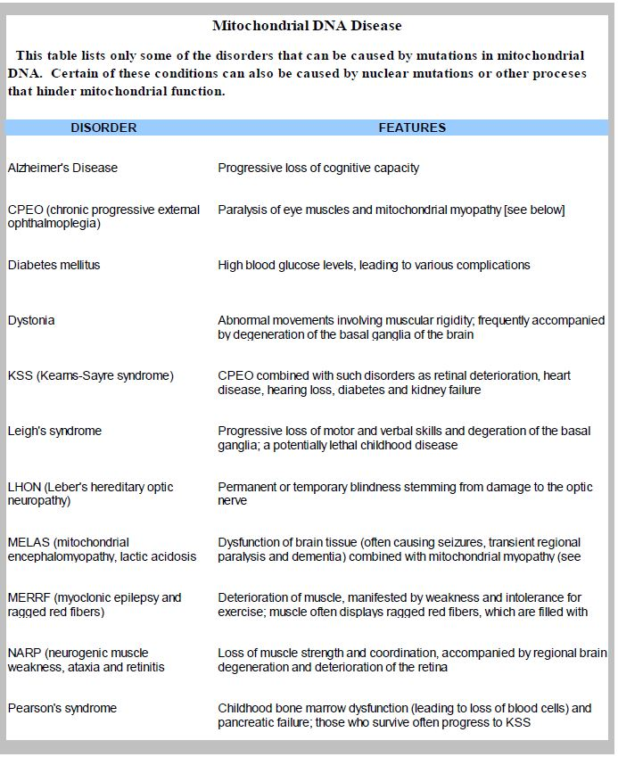 Table 1. Diseases associated with mitochondrial DNA mutations.