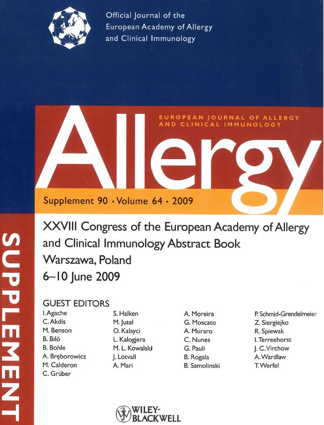 front cover of the European Journal of Allergy and Clinical Immunology - Supplement 90 - Volume 64 - 2009
