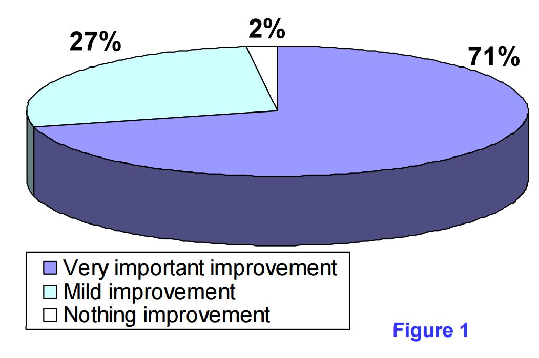 pie chart of improvements after patients with GI symptoms followed the Alcat Test rotation diet