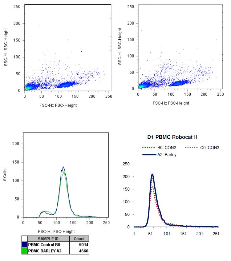 charted results of donor 1 peripheral blood mononuclear cells (PBMC) when exposed to Barley