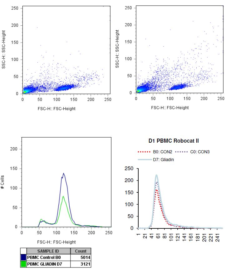 Charted results of donor 1 peripheral blood mononuclear cells (PBMC) when exposed to gliadin