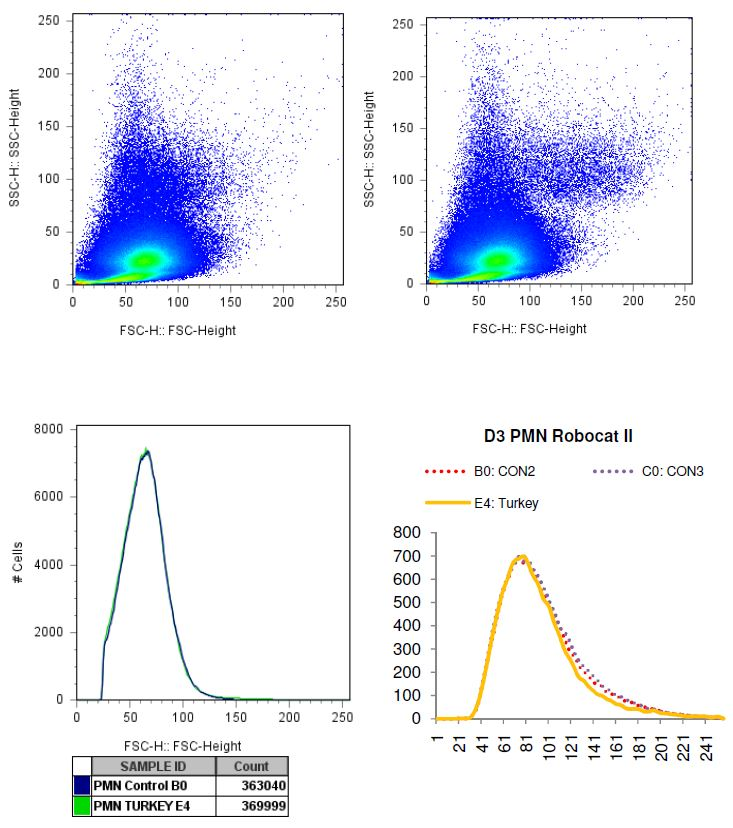 Charted results of donor 3 polymorphonuclear (PMN) cells when exposed to turkey
